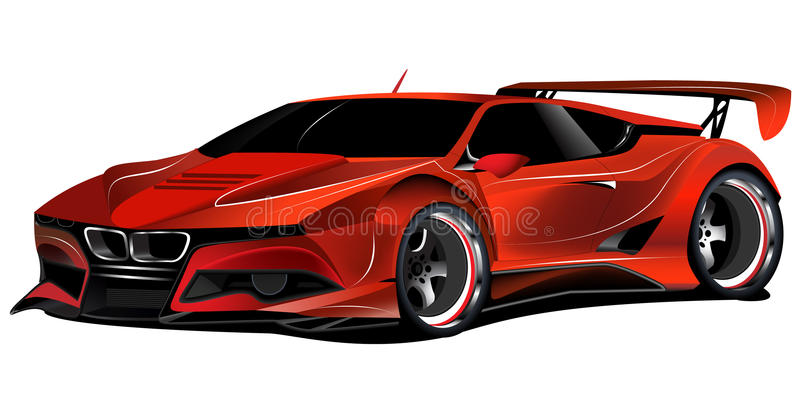 BMW M1 customized red race car vector illustration