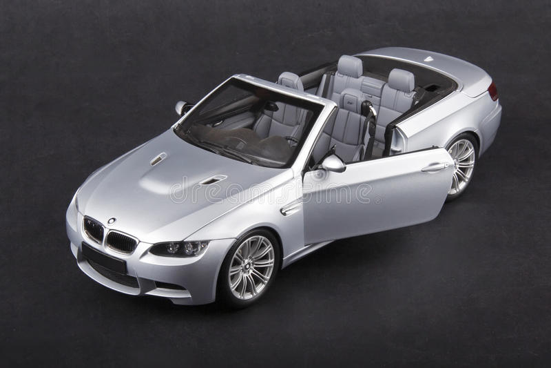 BMW M3 convertible. Silver bmw m3 on a dark background stock photos