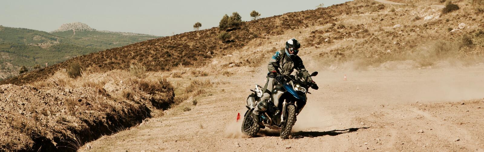 BMW R1200GS Downhill. Offroad Training in Andalusia Spain royalty free stock photography