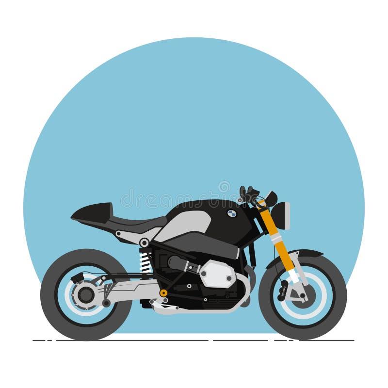 BMW R neun t-Café-Rennläufer-Karikatur-flache Art stockbild