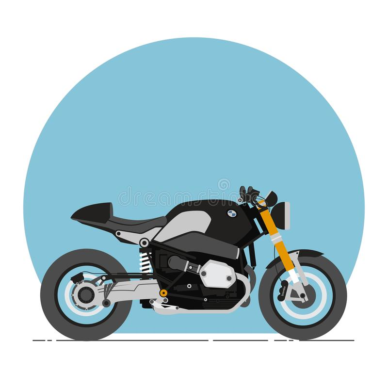 BMW R nine T Cafe Racer Cartoon Flat Style stock image