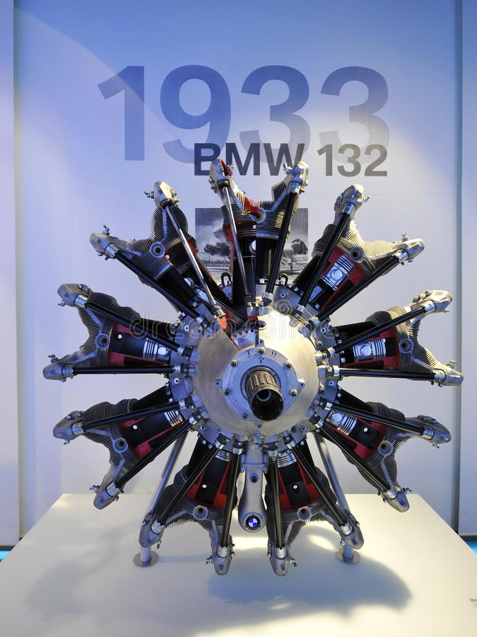 BMW 132 radial engine on display in BMW Museum royalty free stock image