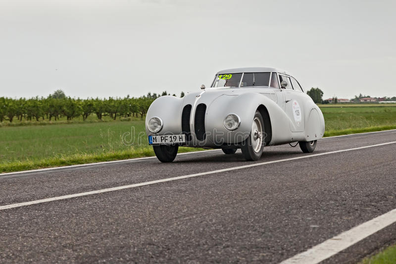 BMW 328 in rally Mille Miglia 2013 royalty free stock photography