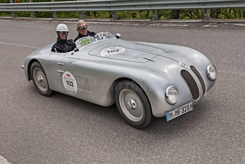BMW 328 Rom 1937-1941 w Mille Miglian Krajoznawcza terenówka obraz royalty free
