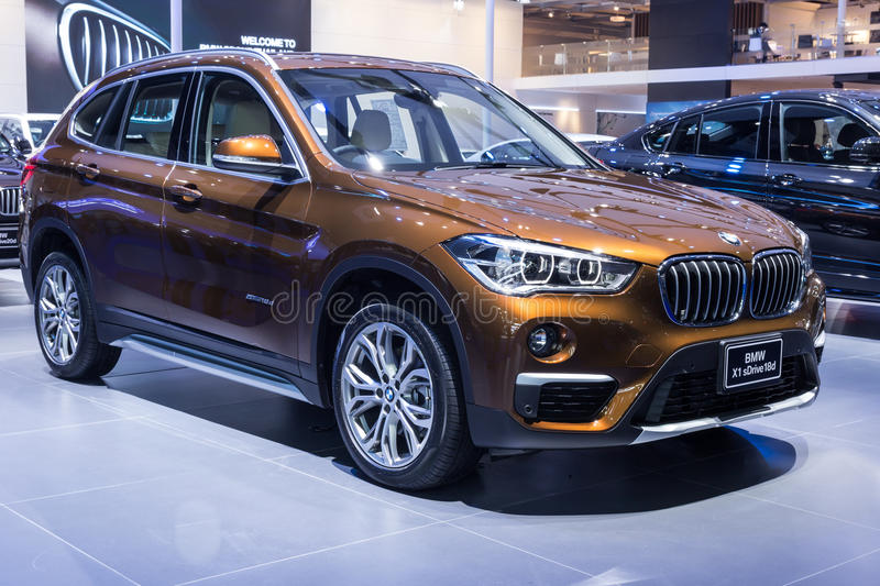 BMW X1 sDrive18D showed in Thailand. NONTABURI, THAILAND - 23 MAR : BMW X1 sDrive18D showed in Thailand the 37th Bangkok International Motor Show on 23 March royalty free stock photos