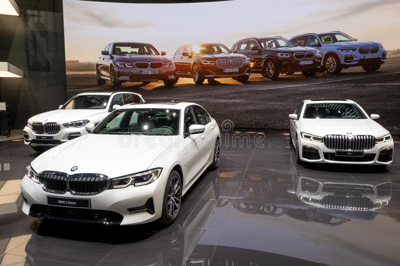 BMW 3 and 7 Series and X5 cars stock image