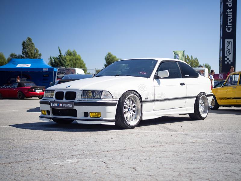 BMW 3 Series Compact. MONTMELO, SPAIN-SEPTEMBER 29, 2019: 1993-2000 BMW 3 Series Compact 323ti E36/5 at city streets royalty free stock image