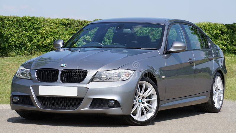 BMW 3 series in silver royalty free stock photography