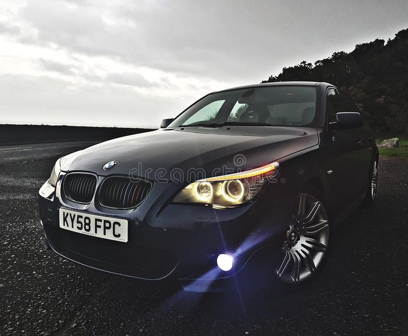 Bmw 5sieries waiting for hurricane royalty free stock image