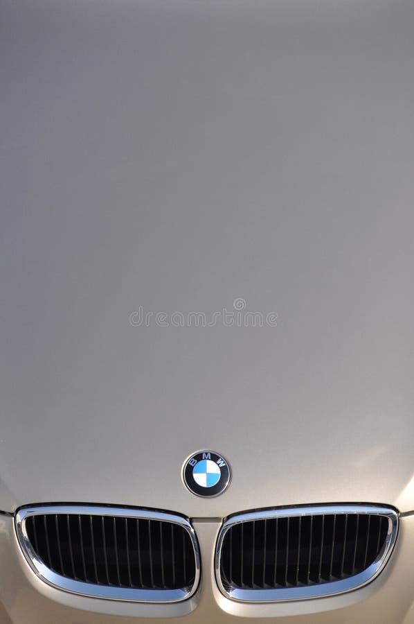 BMW symbol. Close-up BMW logo. Chrome metal royalty free stock photography