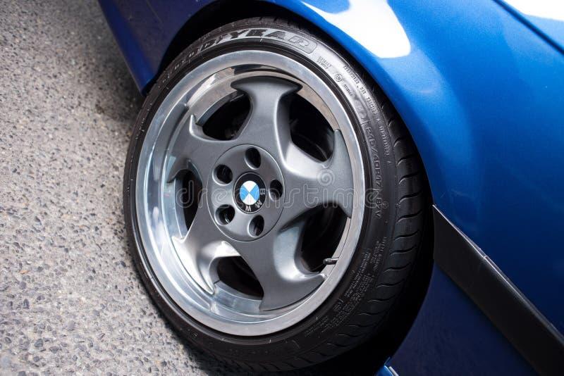 BMW Throwing star alloy wheel stock photo
