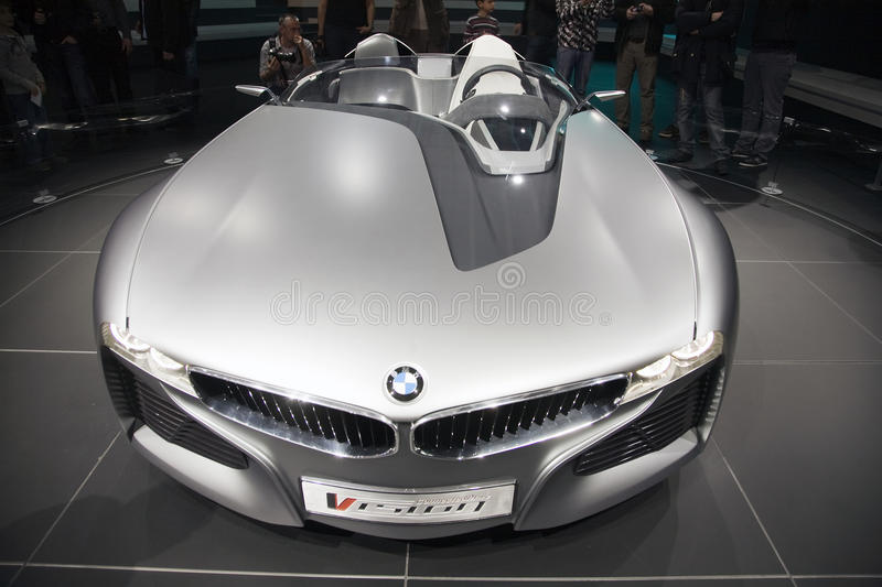 BMW Vision Connected Drive Concept. World premiere of the BMW Vision Connected Drive car at the 2011 Geneva Motor Show. It uses fiber optics to communicate with royalty free stock image