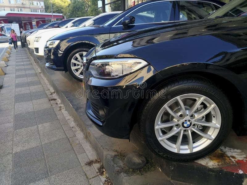 Bmw, Wv, Audi, Porsche branded German Cars from side and front view at street for sale royalty free stock image