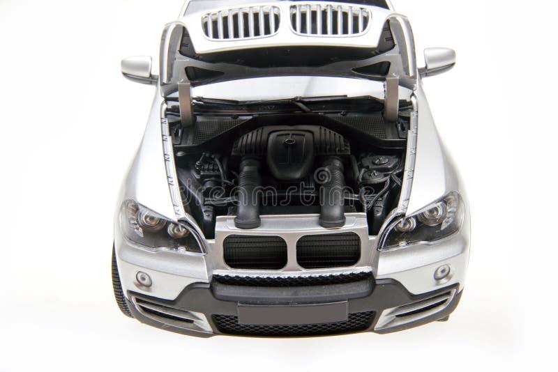 BMW X5 SUV bonnet open stock photo