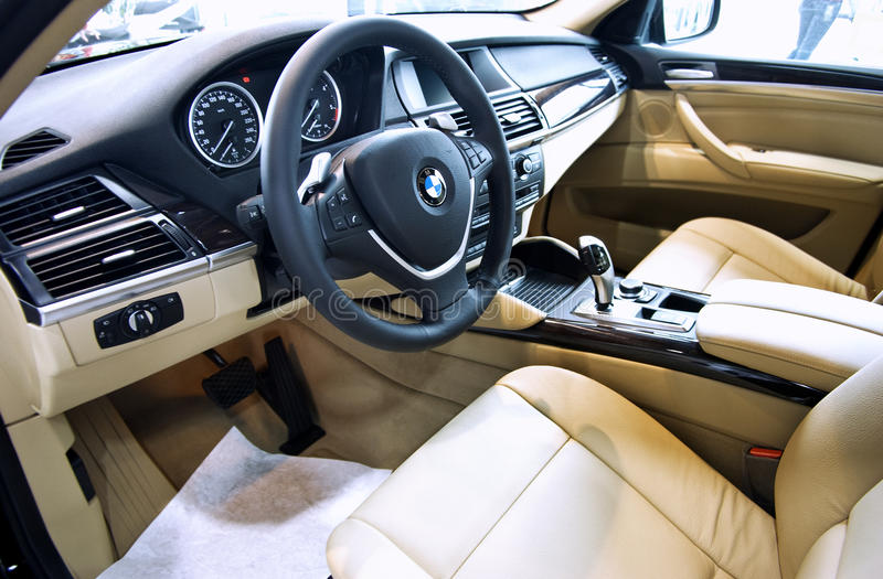 BMW X6 car interior. Luxury car interior, BMW X6 SUV stock photos