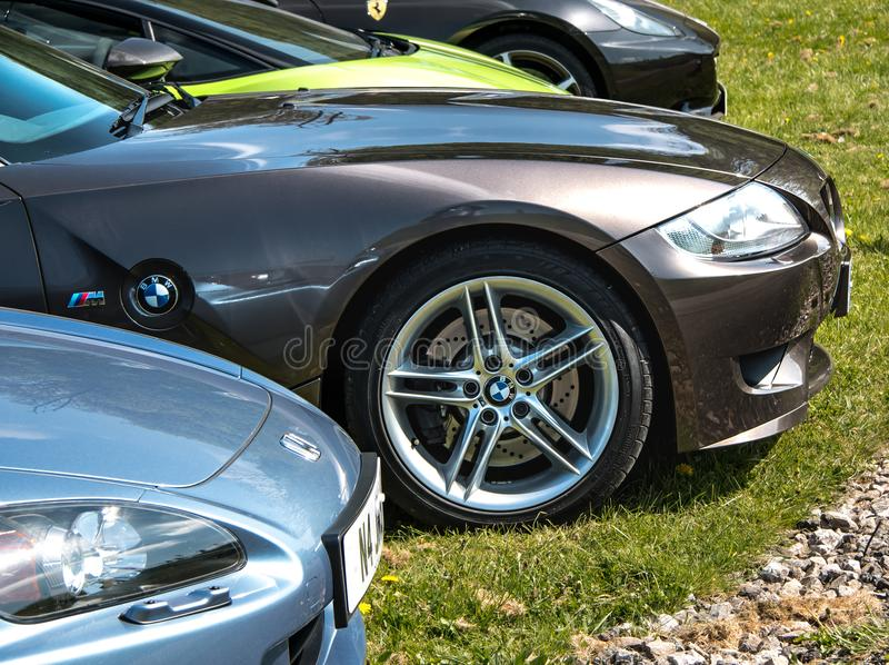 BMW Z4M Roadster. The front wheel of a fast, high performance BMW Z4 M Roadster sports car royalty free stock photo