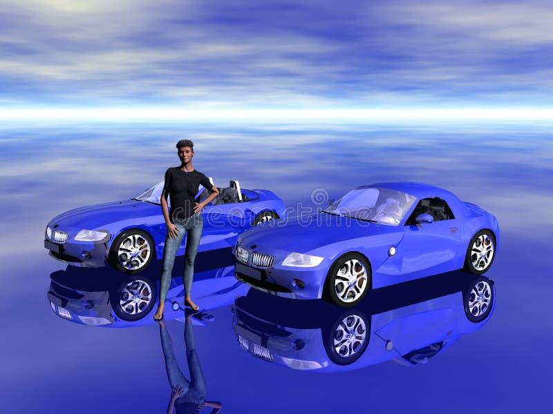 Bmw Z4 2.5 i sportscar con el modelo de la promoción. libre illustration