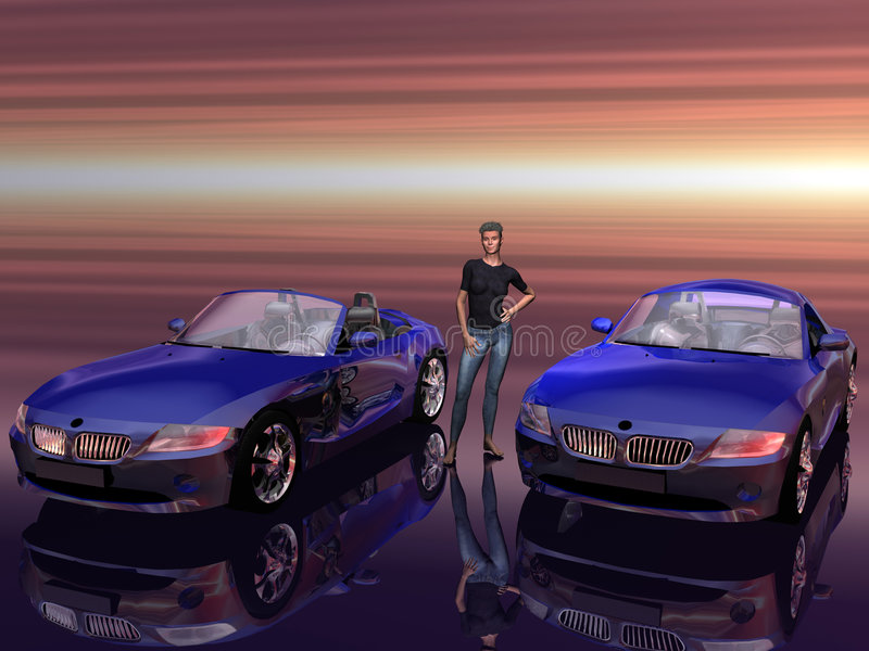 Bmw Z4 2.5 i sportscar con el modelo de la promoción. stock de ilustración