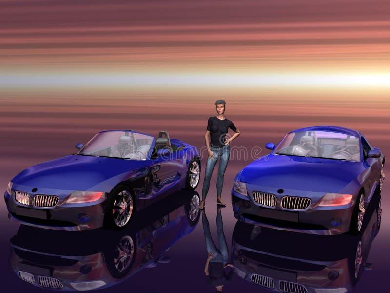 Bmw Z4 2.5 i sportscar con il modello di promozione. illustrazione di stock