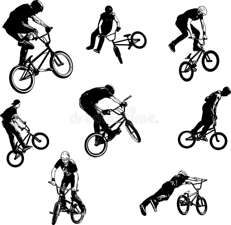 Bmx特技骑自行车者剪影汇集 向量例证