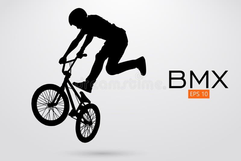 BMX车手的剪影 也corel凹道例证向量 库存例证