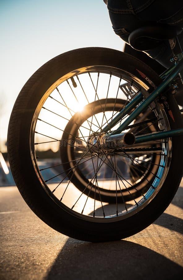 BMX катит против захода солнца в парке конька в Дуйсбурге стоковые изображения