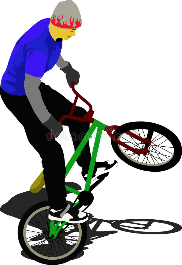 BMX. Biker makes a show with the bmx royalty free illustration