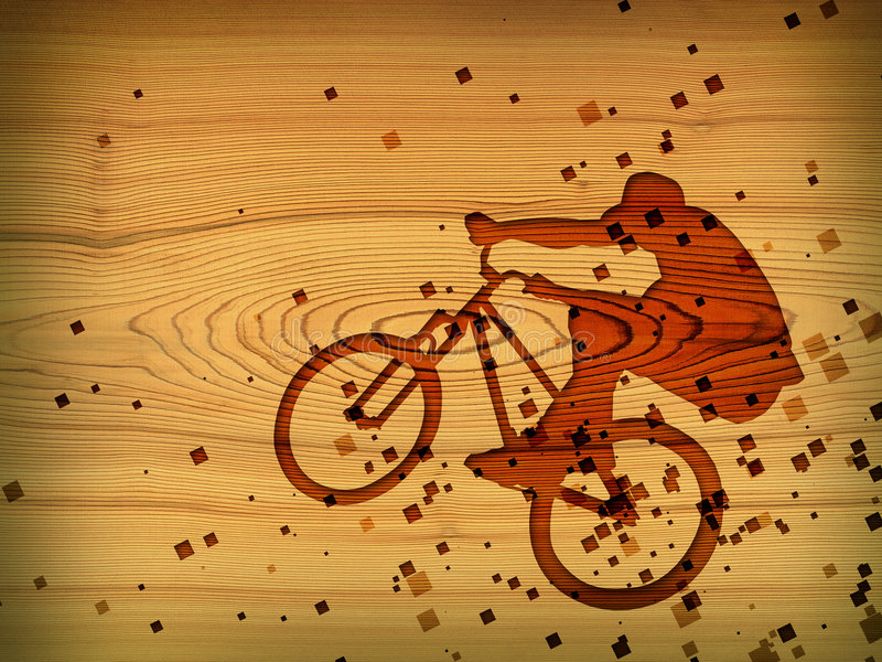Bmx. Red bmx on wood desk stock illustration