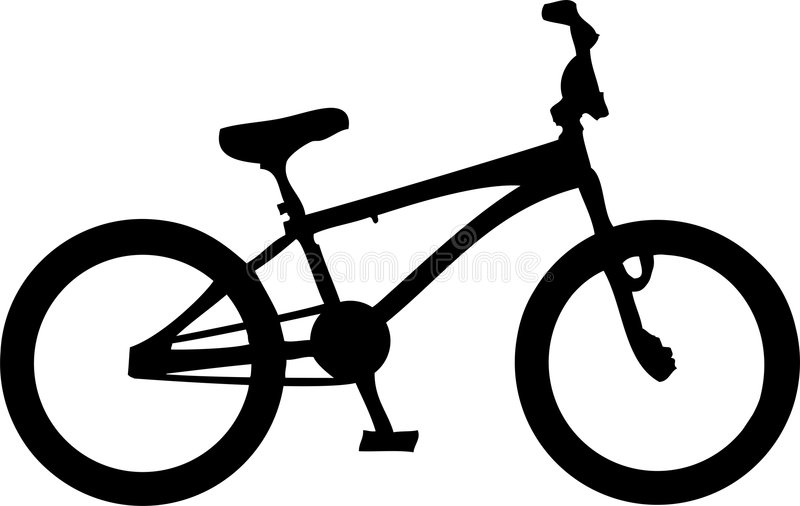 BMX Bike. Illustration of a black,white bmx bike stock illustration
