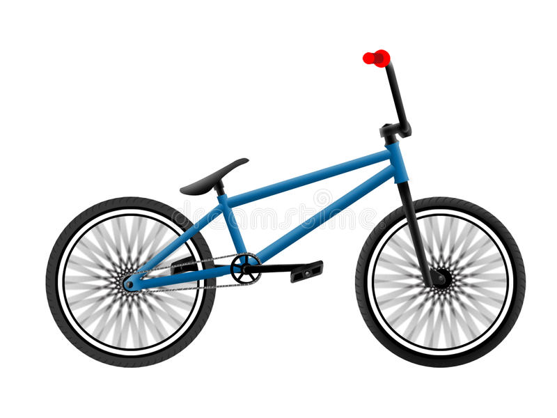BMX bike. BMX blue bike with red grips royalty free illustration
