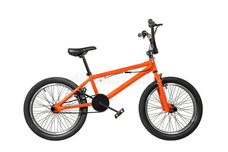 Bmx bike. Orange bmx bike isolated on white royalty free stock photo