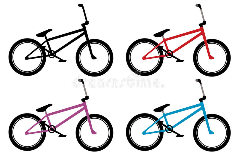 Bmx bike set. In black, red, blue and violet color stock illustration