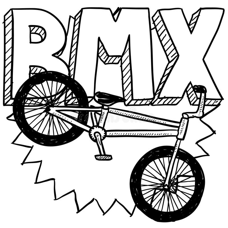 BMX bike sketch. Doodle style BMX bike sports illustration. Includes text and bicycle stock illustration