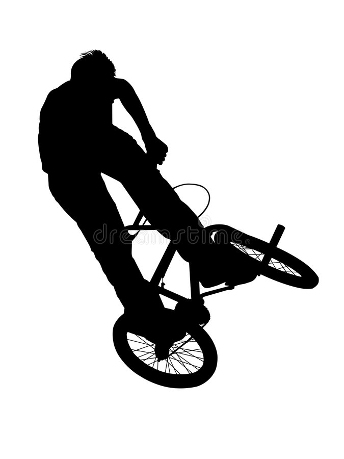 Bmx biker on white. Silhouette of bmx biker isolated on white background stock illustration