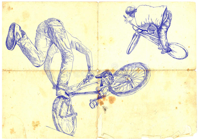 BMX bikers. Extreme tricks on the BMX bike, hand drawing - vintage processing royalty free illustration