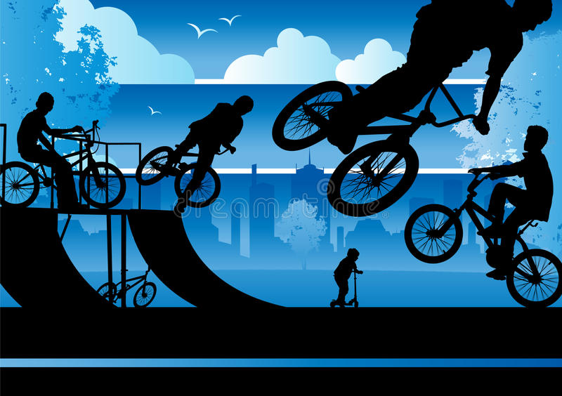 BMX Boys in a City Park. Collection of various boys on BMX bikes in the city park royalty free illustration