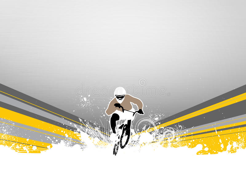BMX cyclist. Abstract grunge BMX cyclist sport background with space royalty free illustration