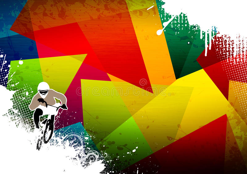 BMX cyclist. Abstract grunge BMX cyclist sport background with space stock illustration