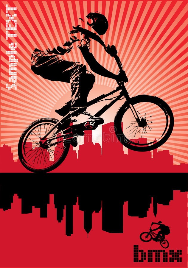 BMX cyclist. Vector image of BMX cyclist royalty free illustration