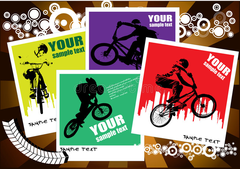 BMX cyclist. Vector image of BMX cyclist with city in background royalty free illustration