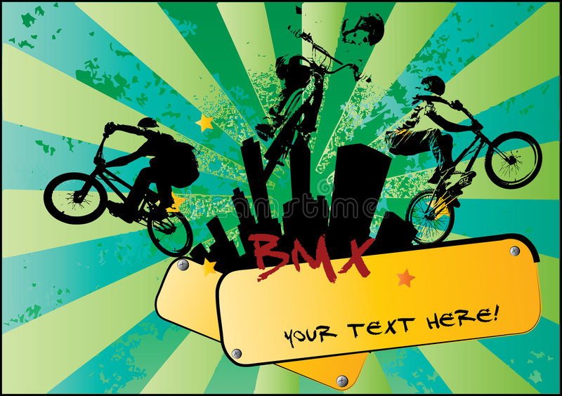 BMX cyclist. Vector of BMX cyclist with modern background royalty free illustration