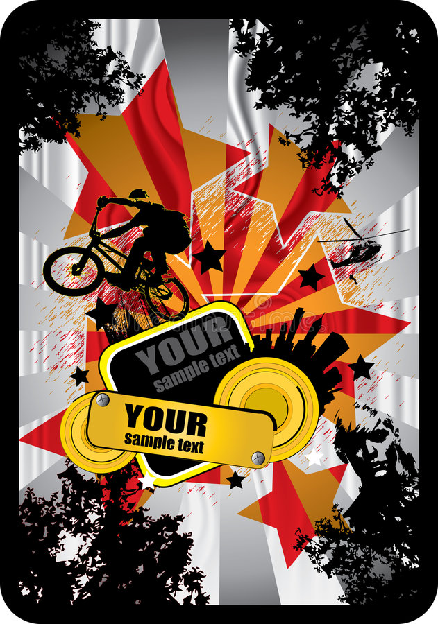 BMX cyclist. Vector of BMX cyclist with modern background stock illustration