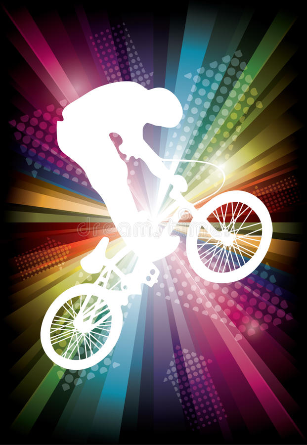 BMX cyclist. On rainbow background. vector illustration stock illustration