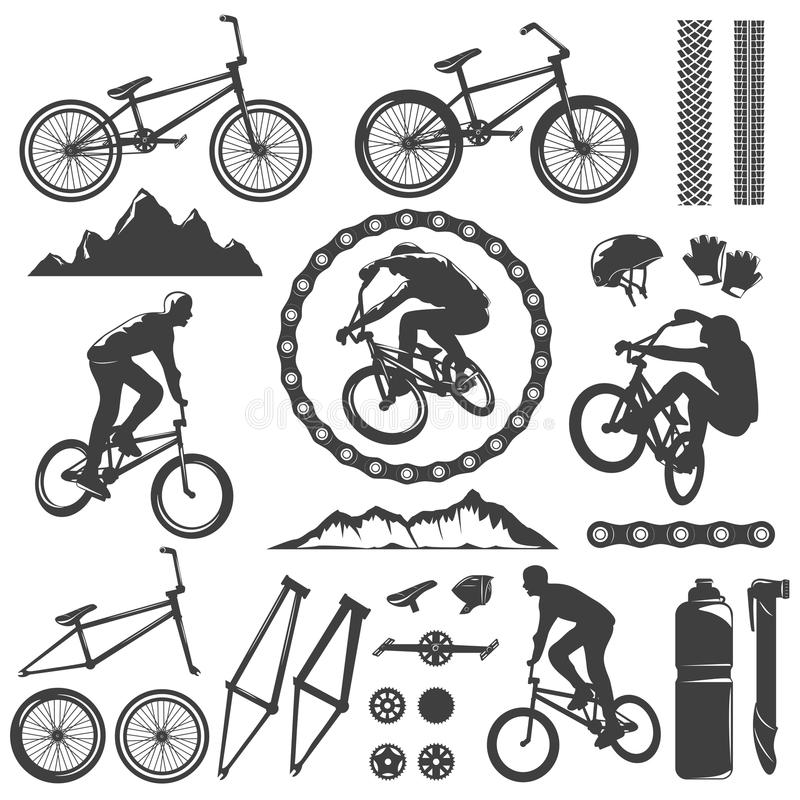 BMX Decorative Graphic Icons Set. With bike bicyclist chain frame pedal rock track helmet isolated vector illustration vector illustration