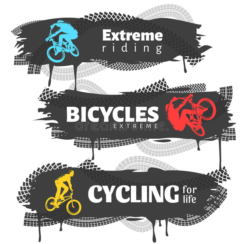 BMX Horizontal Banners Set. With colorful extreme riders cycling traces inscriptions on black background isolated vector illustration stock illustration