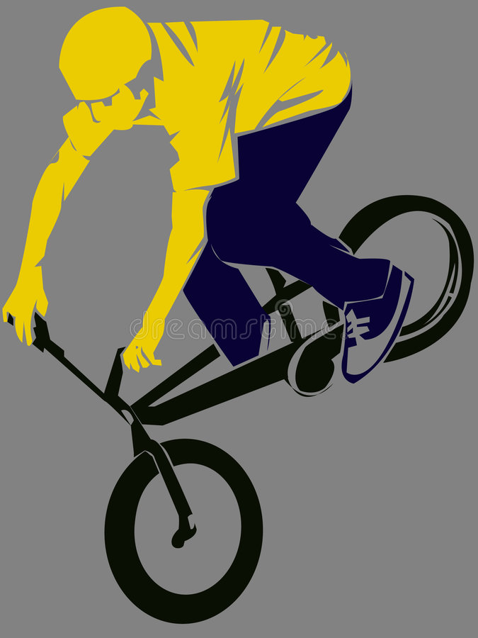 Bmx Jump!. A man performing a stunt on a bmx bike royalty free illustration