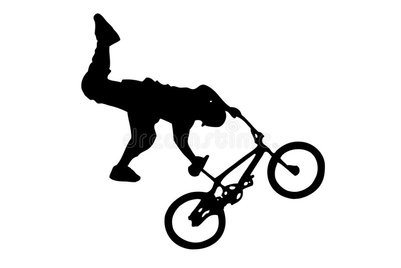 BMX jump. Crazy guy doing a jump with his BMX stock illustration