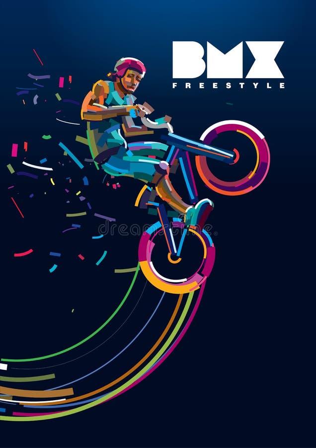 BMX Motociclista in un salto illustrazione vettoriale