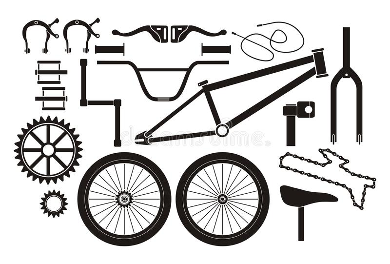 BMX parts - pictogram. Suitable for illustrations stock illustration