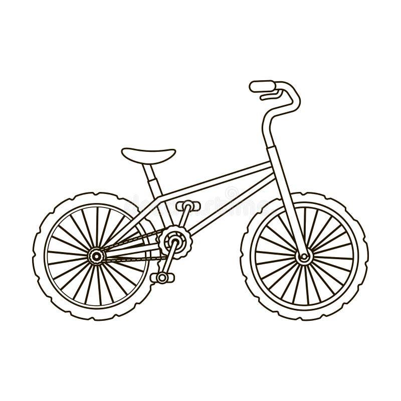 BMX-Radfahrer-Radfahrer-Athleten-Sportler Fahrrad für Sprünge und Athleten Einzelne Ikone des unterschiedlichen Fahrrades in der  lizenzfreie abbildung
